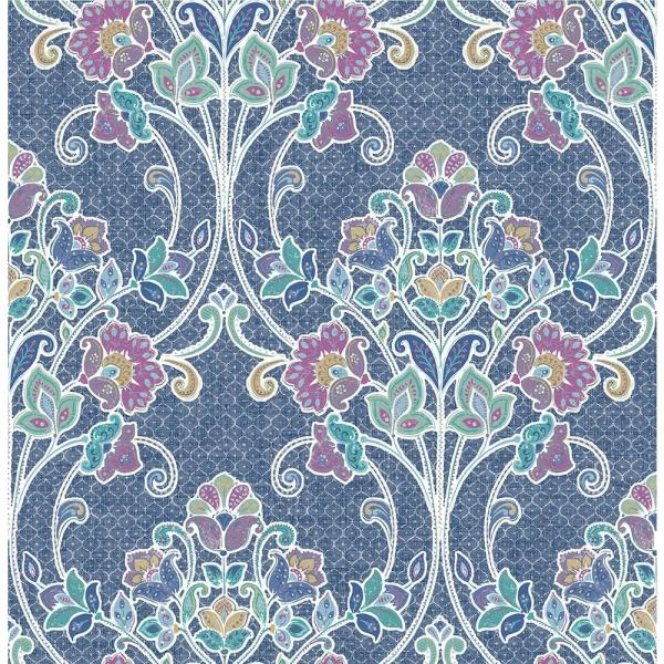 Willow Indigo Nouveau Floral Paper Strippable Roll (Covers 56.4 sq. ft.)