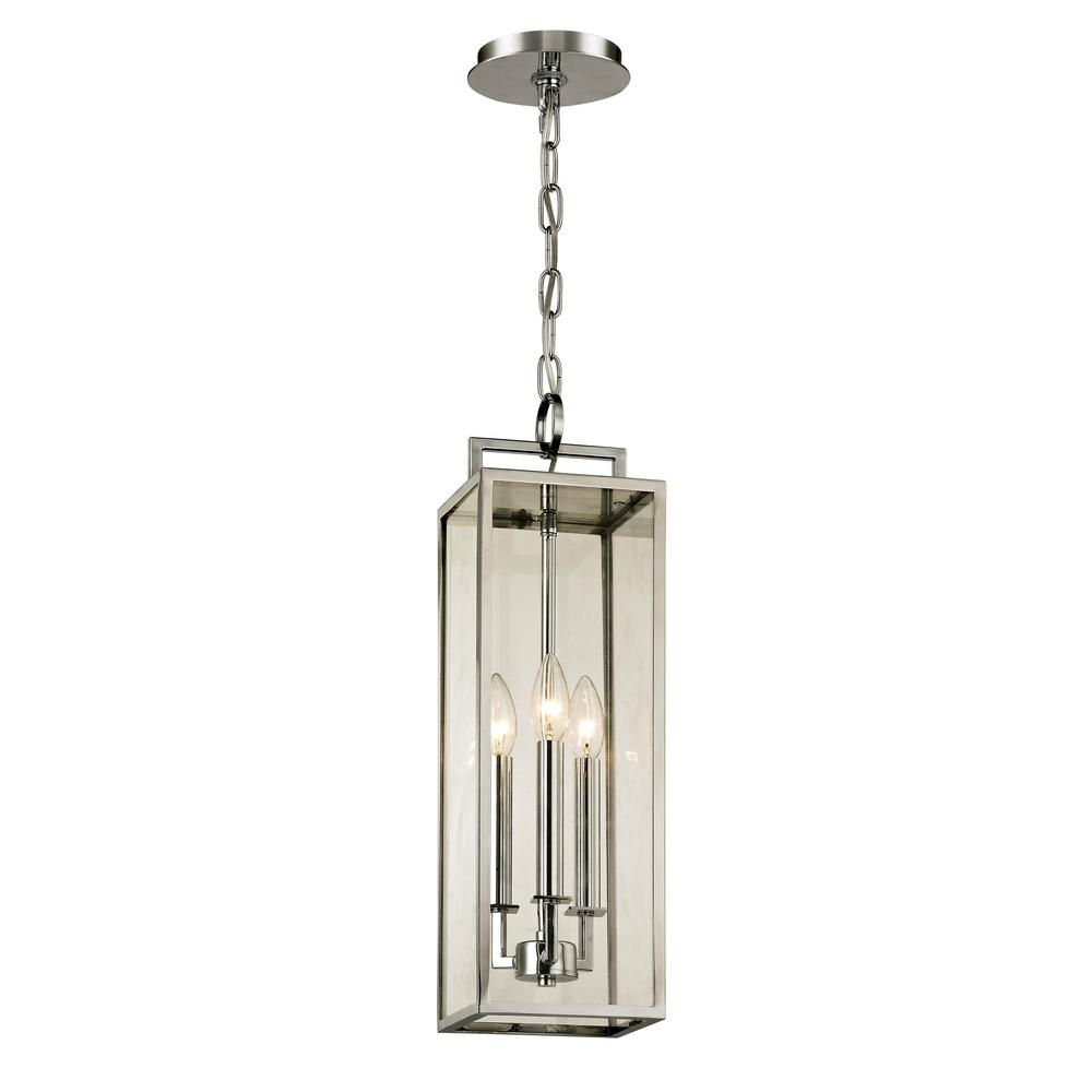 Troy Lighting Beckham Polished Stainless 3-Light 6 in. W Outdoor Hanging Light with Clear Glass