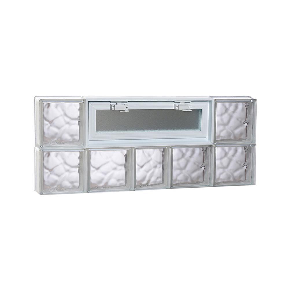 36.75 in. x 15.5 in. x 3.125 in. Wave Pattern Vented Glass Block Window