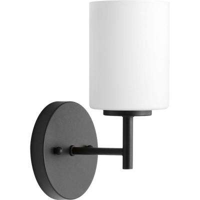 Replay 5 in. 1-Light Black Bath Sconce with Frosted Glass Shade