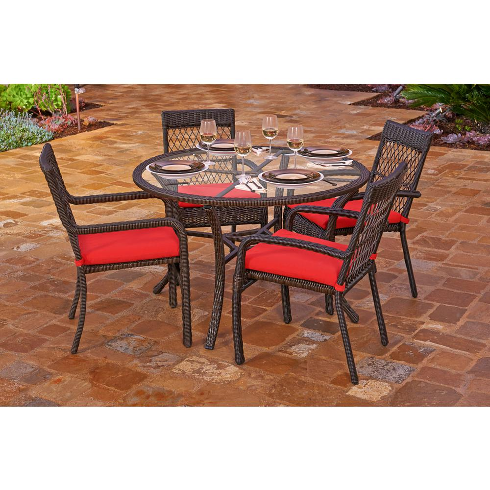 5-Piece Beacon Cappuccino Weave Resin Wicker Outdoor Chair and Dining Table  Set with Solid Red Cushions