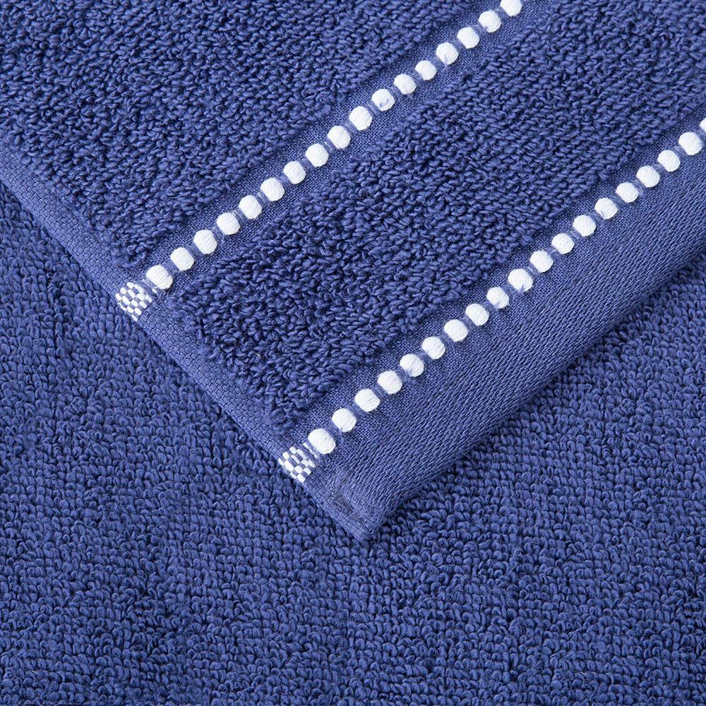 Lavish Home 100% Cotton Zero Twist Quick Dry Towel Set in Navy (6-Piece)