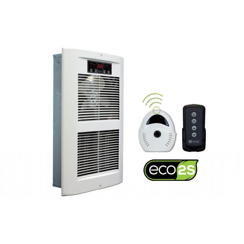 LPW ECO2S 240-Volt 2500-4500-Watt 8530-15354 BTU Electric Wall Heater in White Dove