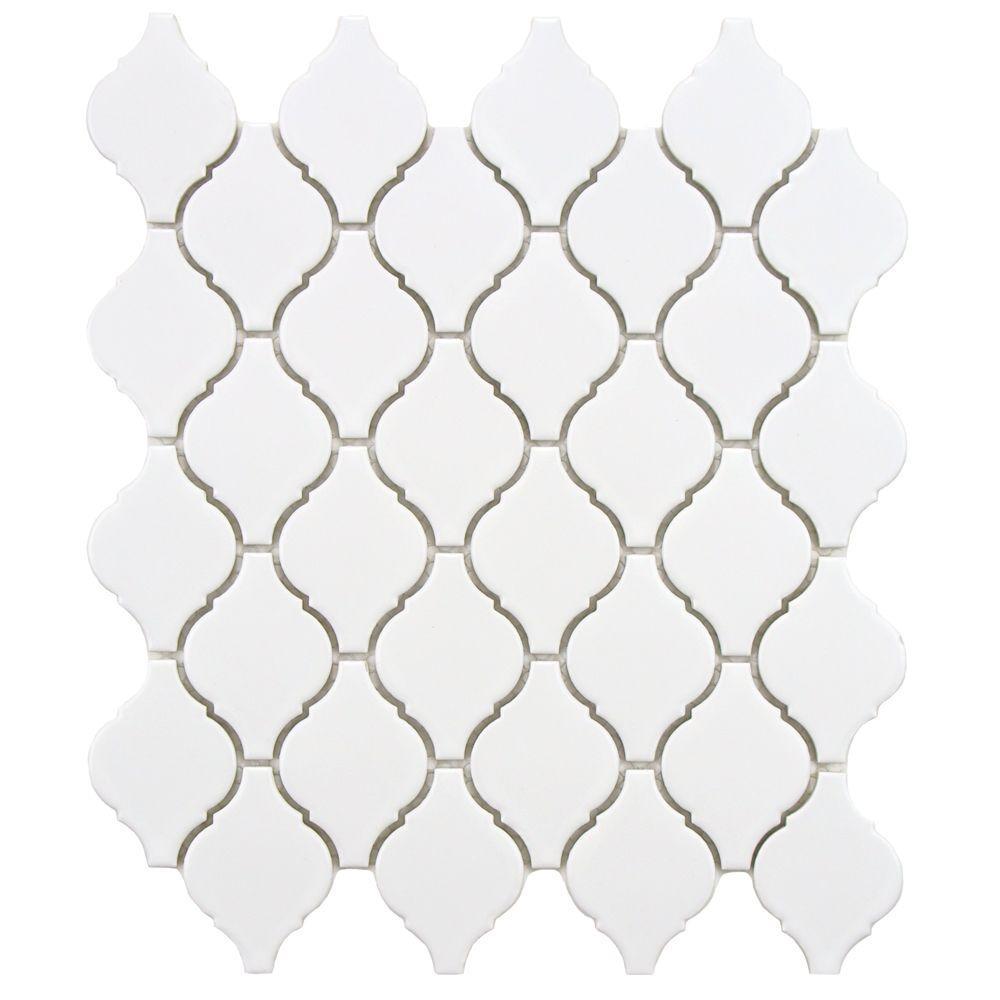 Arabesque Matte White 9-7/8 in. x 11-1/8 in. x 6 mm Porcelain Mosaic Tile