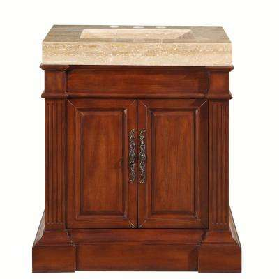 32.5 in. W x 24 in. D Vanity in Cherry with Stone Vanity Top in Travertine with Stone Ramp Basin