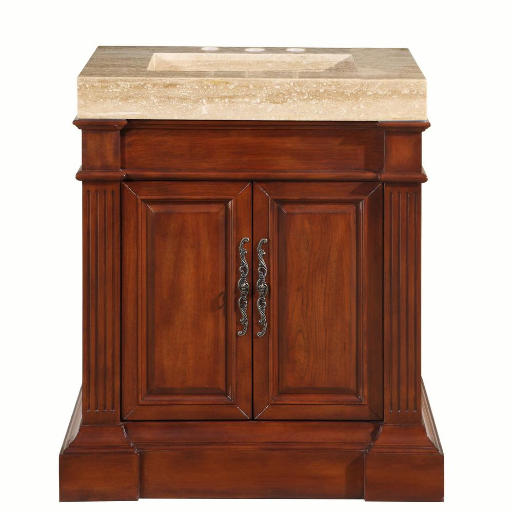 32.5 in. W x 24 in. D Vanity in Cherry with