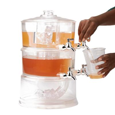 2-Gal. Clear Beverage Dispenser 2-Tier Stackable and 4-Compartment Drink Holder with Lids