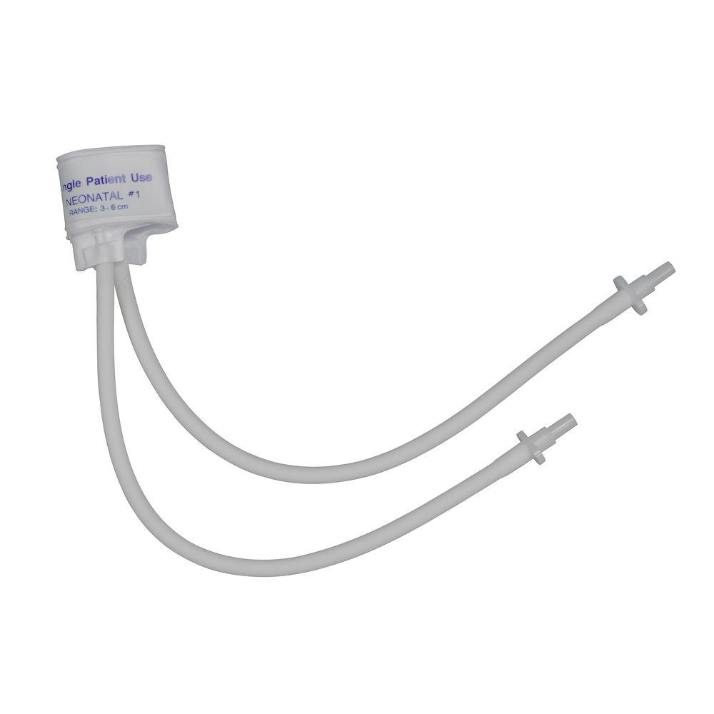 Two-Tube 3-6 cm Neonatal Single-Patient Use Pressure Cuff in White (10-Pack)
