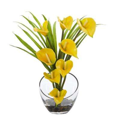15.5 in. High Yellow Calla Lily and Grass Artificial Arrangement in Vase