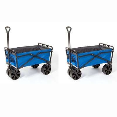 Powder Coated Steel Collapsible Garden Cart Wagon in Blue and Grey (2-Pack)