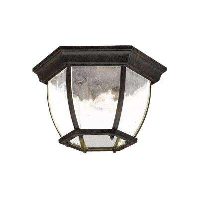 Flushmount Collection Ceiling-Mount 3-Light Black Coral Outdoor Light Fixture