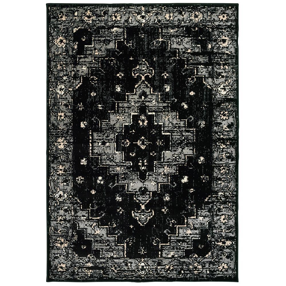 Infinity Black / Gray 5 ft. x 7 ft. Indoor Area Rug