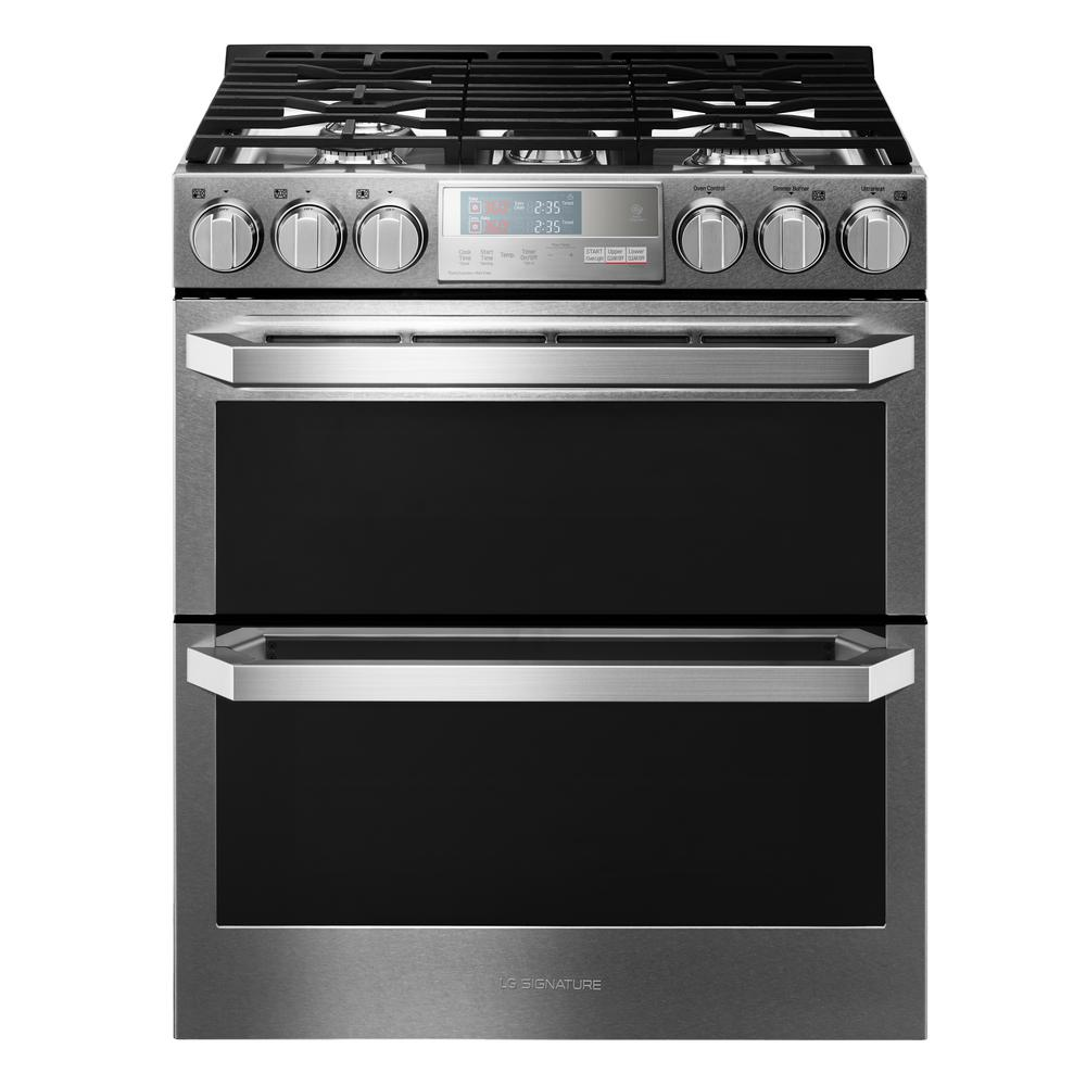 LG SIGNATURE 6.9 cu. ft. Double Oven Smart Slide-in Gas Range with WiFi Enabled in Textured Steel