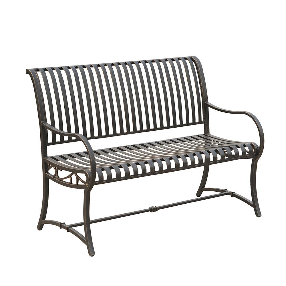 hampton bay slate metal bench-l-pb136pst