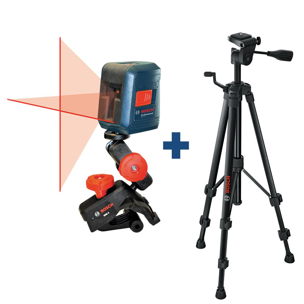 Bosch 30 Ft Self Leveling Cross Line Laser Level With Clamping Mount Compact Tripod With Extendable Height Gll 2 Bt 150 The Home Depot