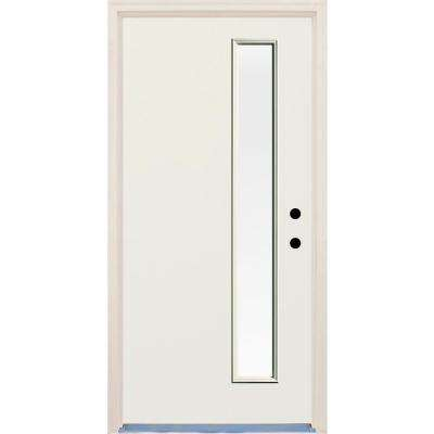 36 in. x 80 in. Left-Hand 1 Lite Clear Glass Unfinished Fiberglass Raw Prehung Front Door with Brickmould