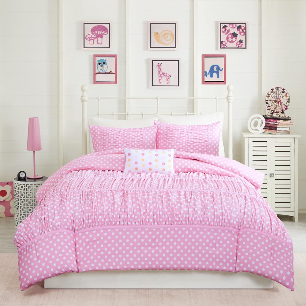Penelope 4-Piece Pink Full/Queen Comforter Set