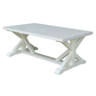 Distressed Ivory Plank Top Coffee Table