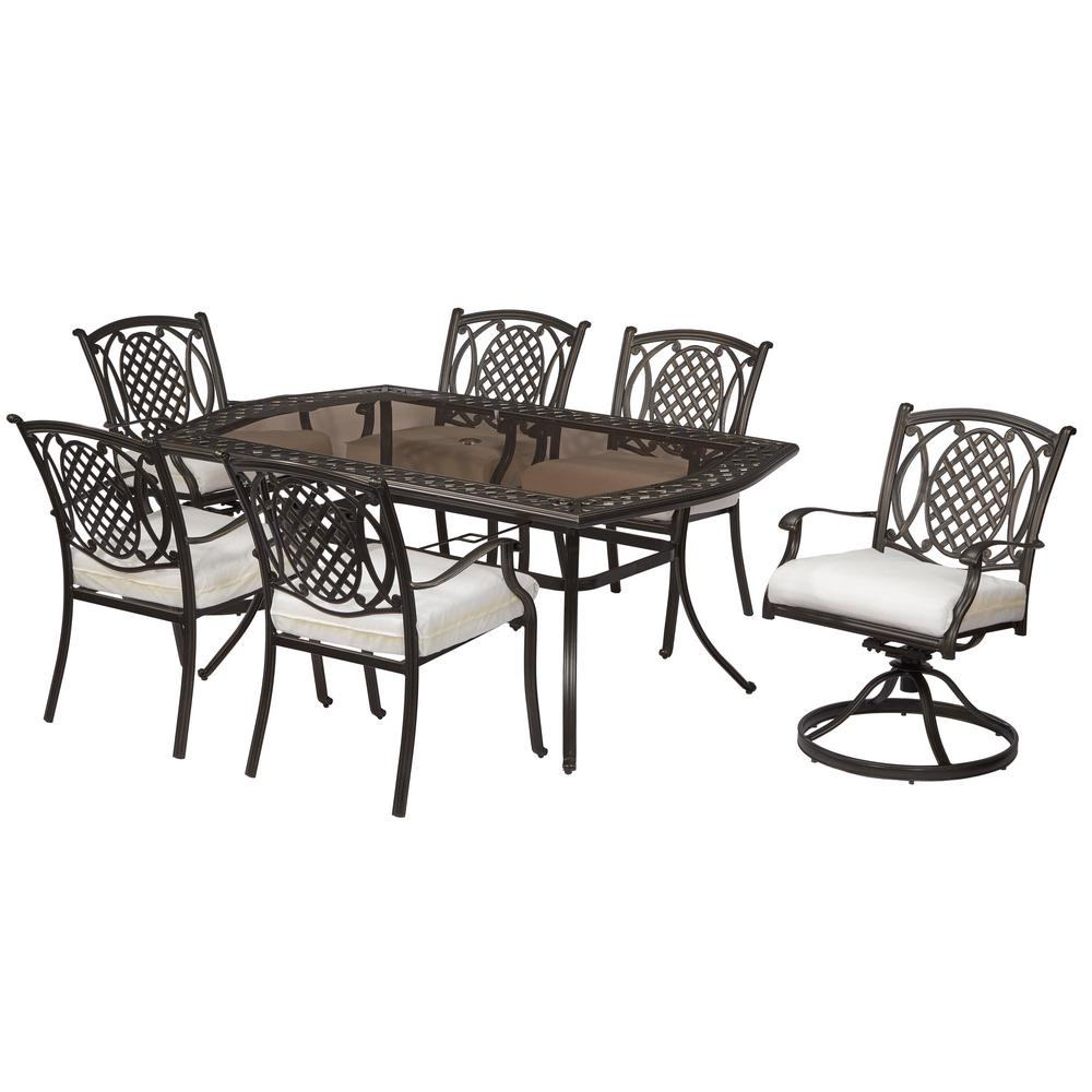 Hampton Bay Belcourt 7 Piece Dining Set With Custom Cushions With Cushion Inserts Slipcovers