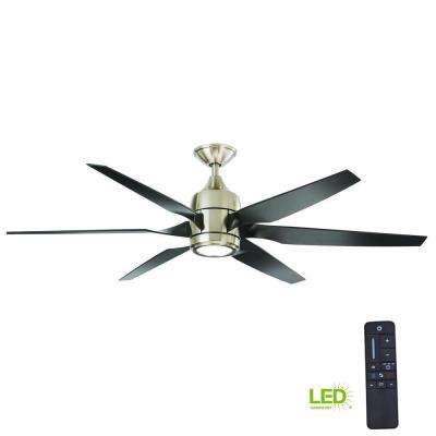 Kelbra 60 in. LED Indoor Brushed Nickel Ceiling Fan with Light Kit and Remote Control