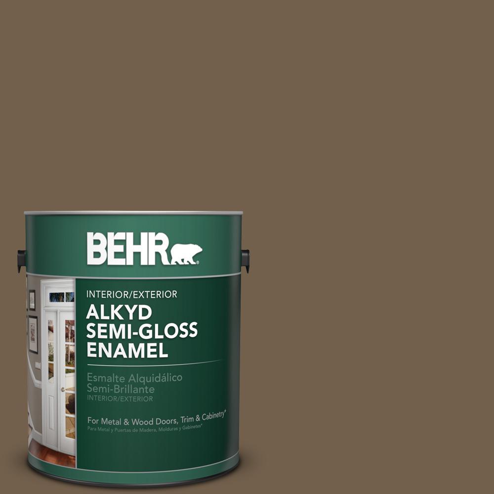 1 gal. #MS-46 Chestnut Brown Semi-Gloss Enamel Alkyd Interior/Exterior Paint