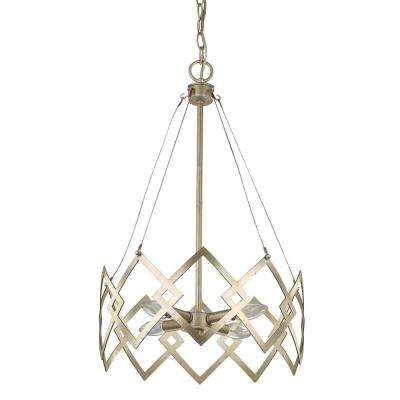 Nora 4-Light Washed Gold Drum Pendant with Abstract Open-Air Cage Shade