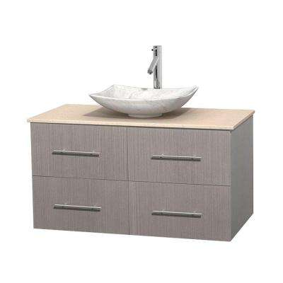 Centra 42 in. Vanity in Gray Oak with Marble Vanity Top in Ivory and Carrara Sink