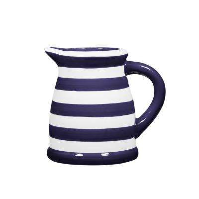22 oz. Indigo and White Striped Pitcher
