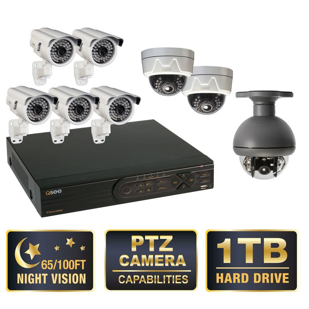 Q-SEE Premium Series 16-CH D1 1TB Surveillance System, 1 PTZ, 5 Bullet, and 2 Dome Cameras, 650 TVL, 100 ft. Night Vision
