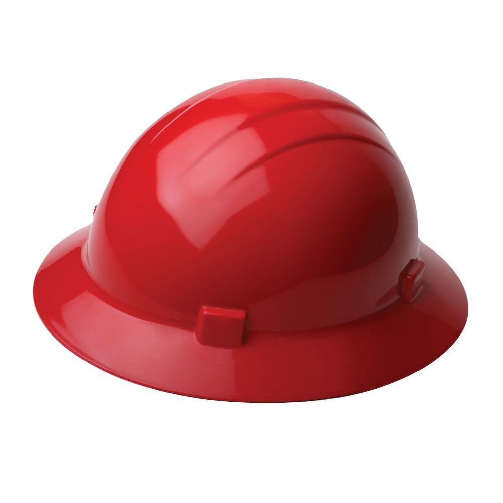 4 Point Nylon Suspension Slide-Lock Full Brim Hard Hat in Red
