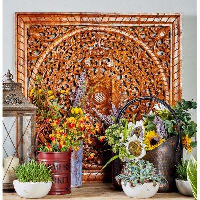 35 in. x 35 in. Brown Carved Floral Design Square Framed Wooden Wall Art