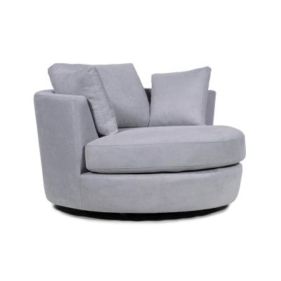 36 in. Mist Fabric Swivel with Toss Pillows Round Barrel Chair Accent Chair