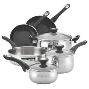 Farberware New Traditions 12-Piece Stainless Steel Cookware Set with Lids by Farberware