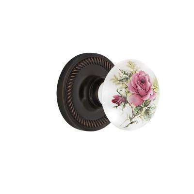 Rope Rosette 2-3/4 in. Backset Timeless Bronze Passage Hall/Closet White Rose Porcelain Door Knob