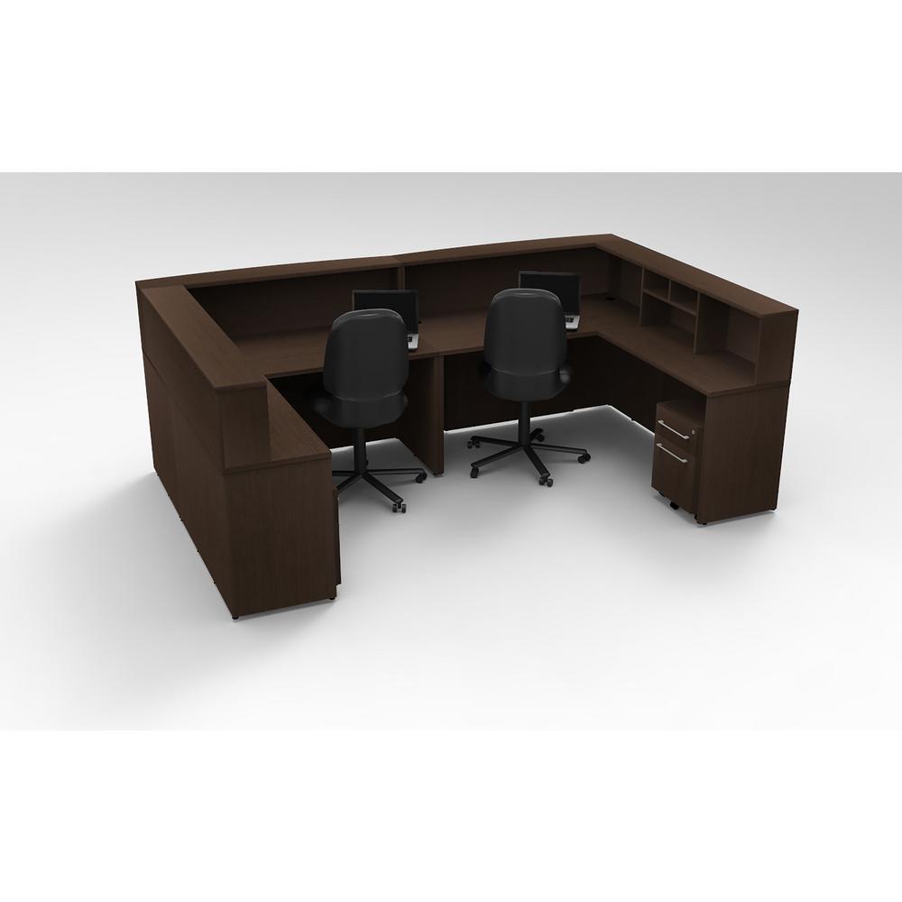 Beau OfisLITE 10 Piece Espresso Office Reception Desk Collaboration Center