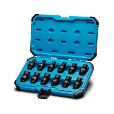 3/8 in. Drive Metric Universal Impact Socket Set (12-Piece)
