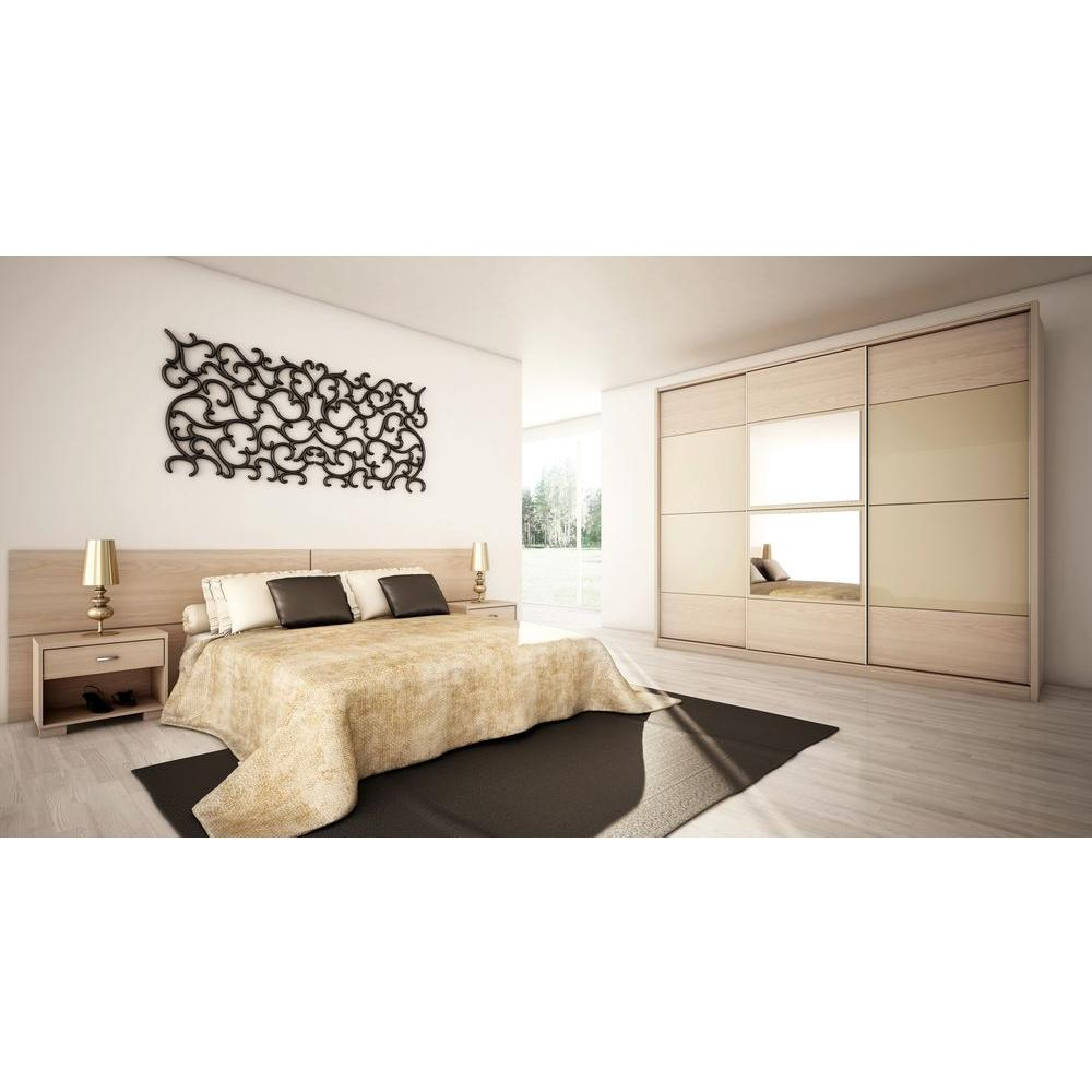 Manhattan Comfort Oak Vanilla Pro Touch Metallic Nude Armoire