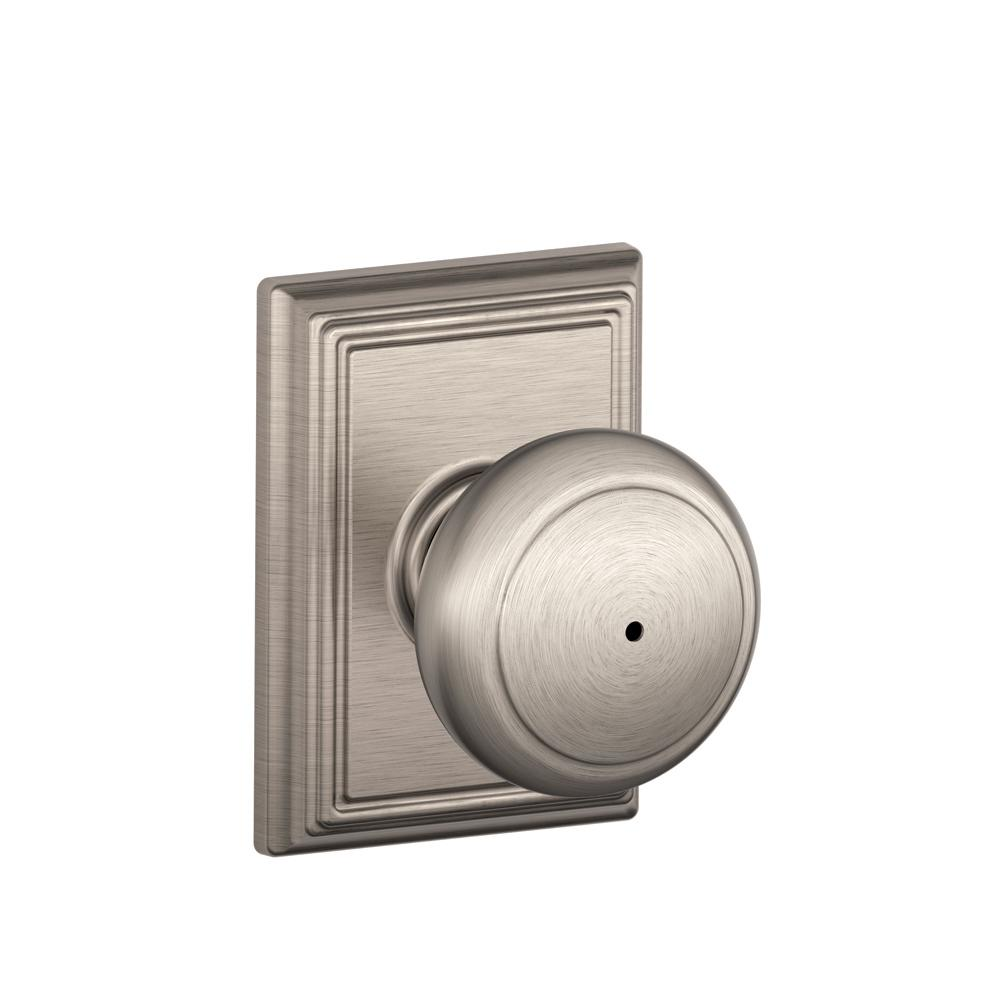 Schlage Andover Satin Nickel Privacy Bed Bath Door Knob With Addison Trim F40 And 619 Add The Home Depot