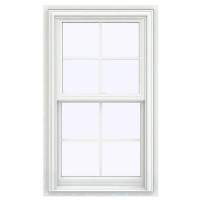 23.5 in. x 35.5 in. V-2500 Series White Vinyl Double Hung Window with Colonial Grids/Grilles