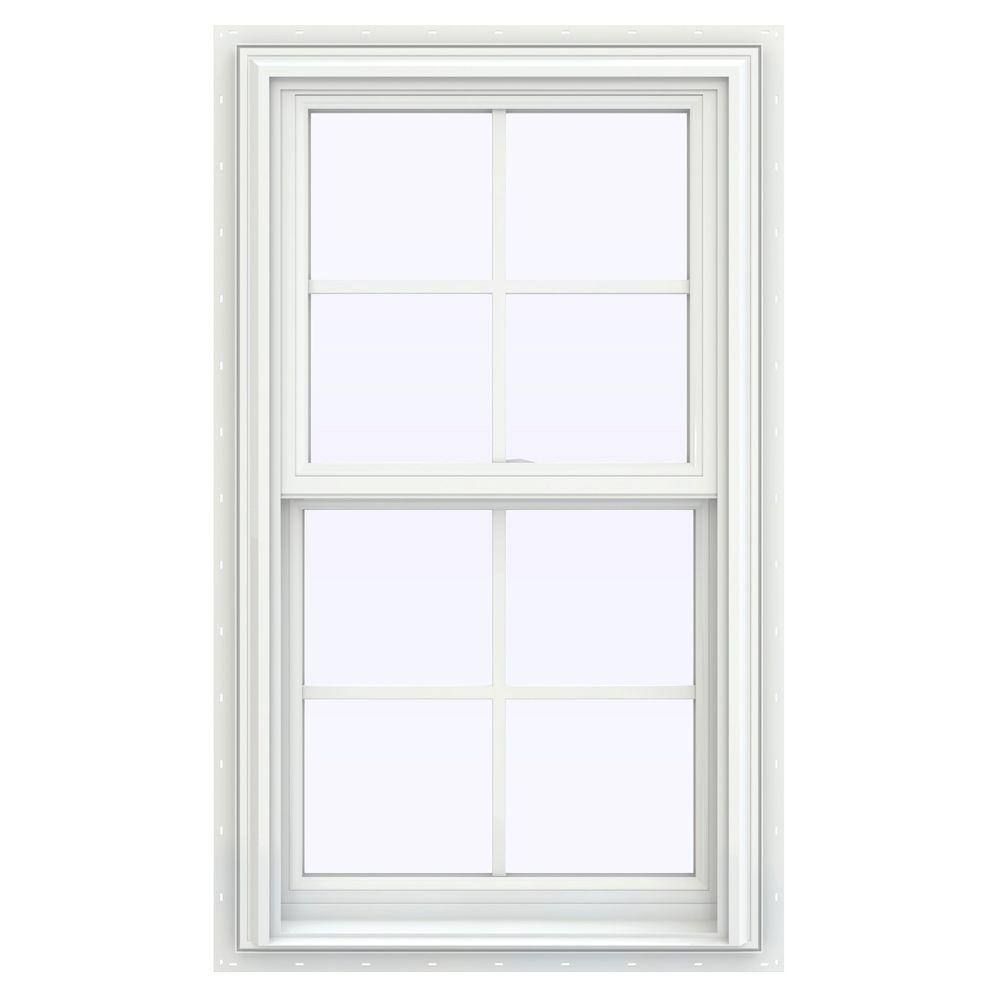JELD-WEN 23.5 in. x 40.5 in. V-2500 Series Double Hung Vinyl Window with Grids - White