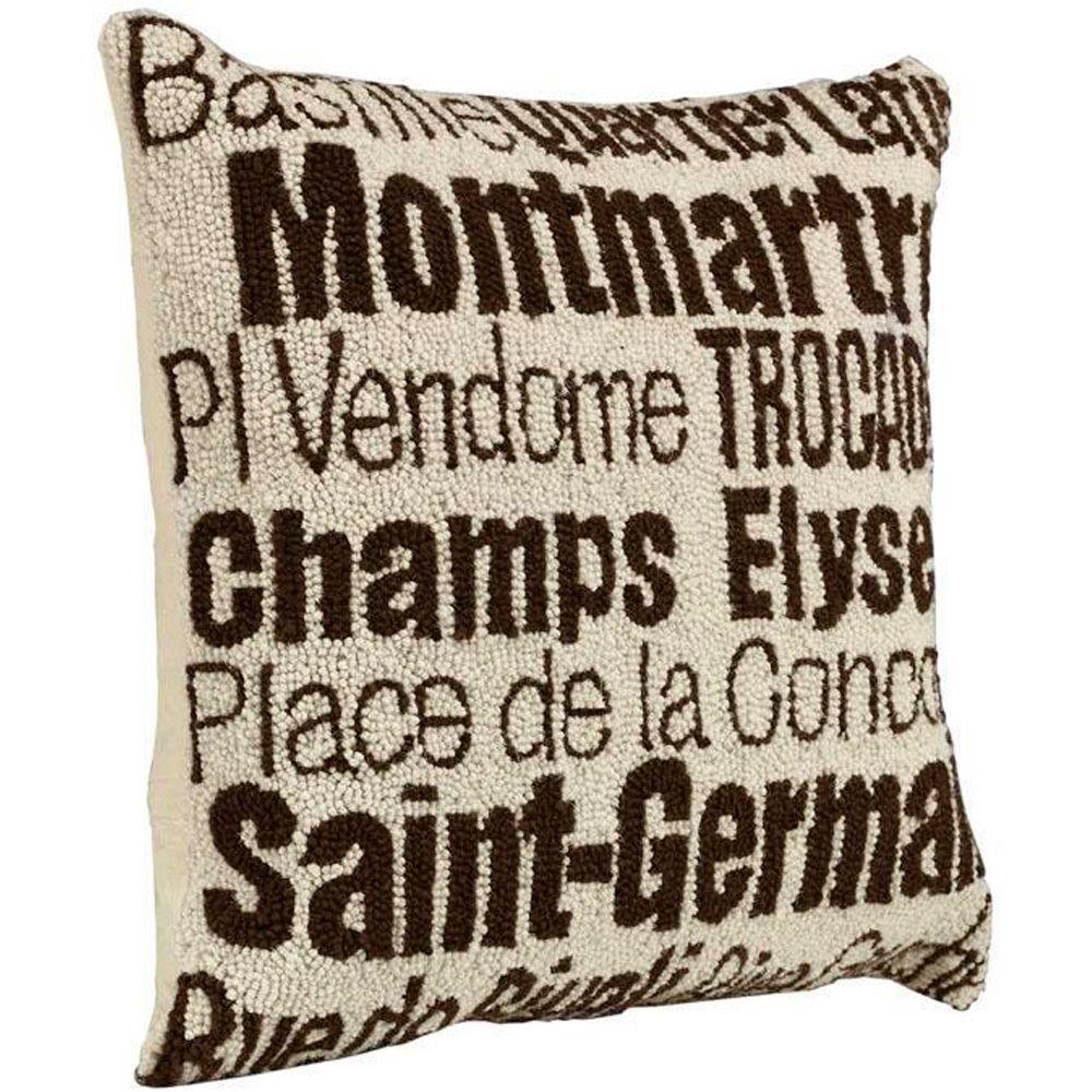 Home Decorators Collection City Hand-Hooked 18 in. W Ivory/Brown Paris Pillow