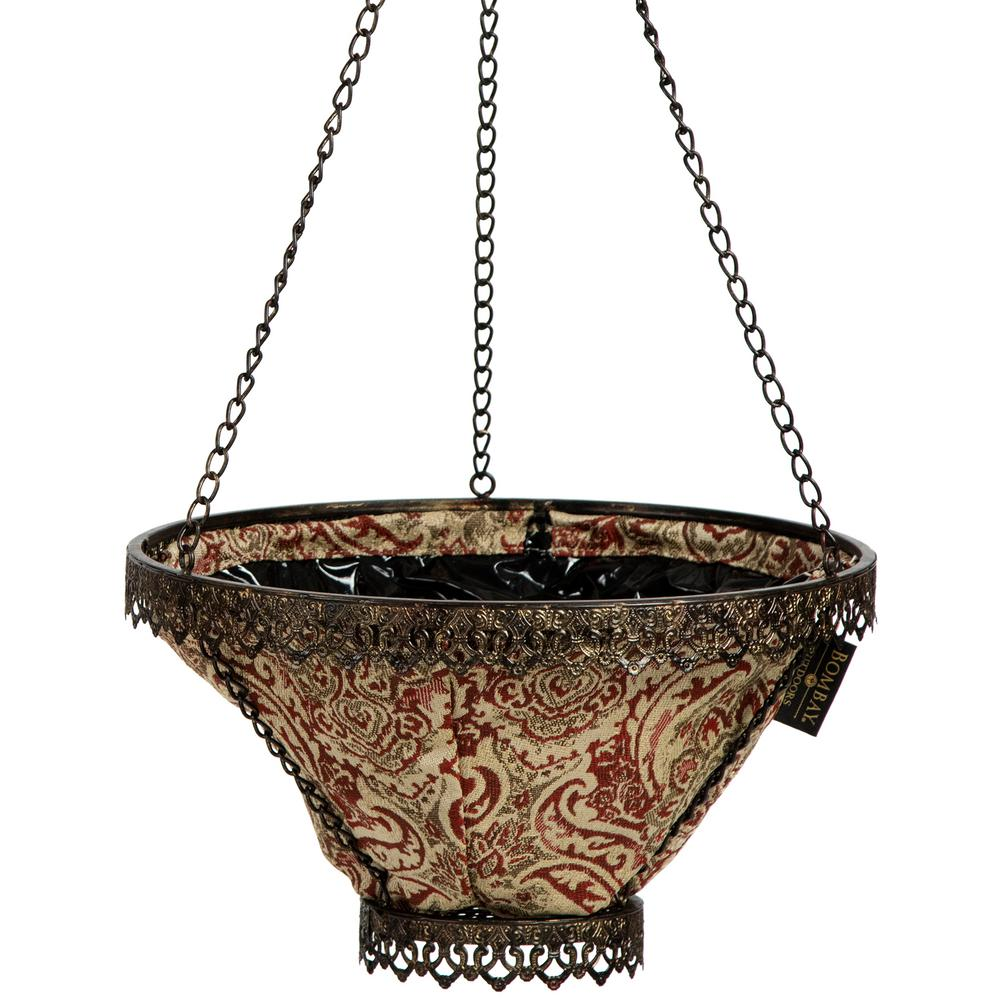 Black Avignon Hanging Planter With Venice Liner