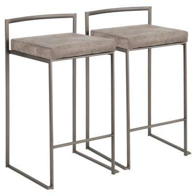 Fuji 26 in. Antique Stackable Counter Stool with Stone Cowboy Cushion (Set of 2)