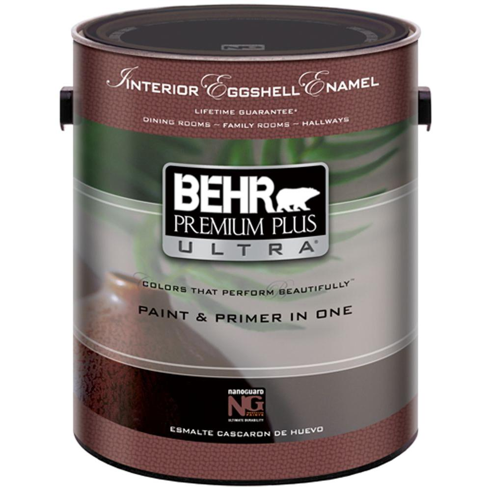 behr premium plus ultra 1 gal pure white eggshell interior paint 275001 the home depot. Black Bedroom Furniture Sets. Home Design Ideas