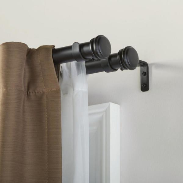 Home Decorators Collection Mix And Match 1 In Double Curtain Rod Bracket In Matte Black 3 Pack U Bkbojm05 The Home Depot