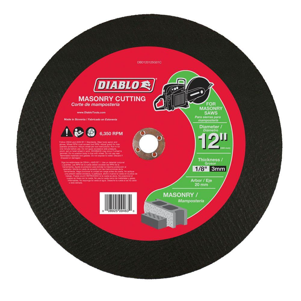 Diablo 12 in. x 1/8 in. x 20 mm Masonry High Speed Cut-Off Disc