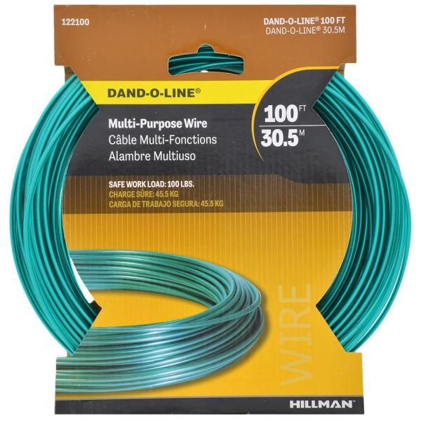 Hillman 100 Ft 100 Lb 14 Gauge Plastic Coated Galvanized Wire 122100 The Home Depot