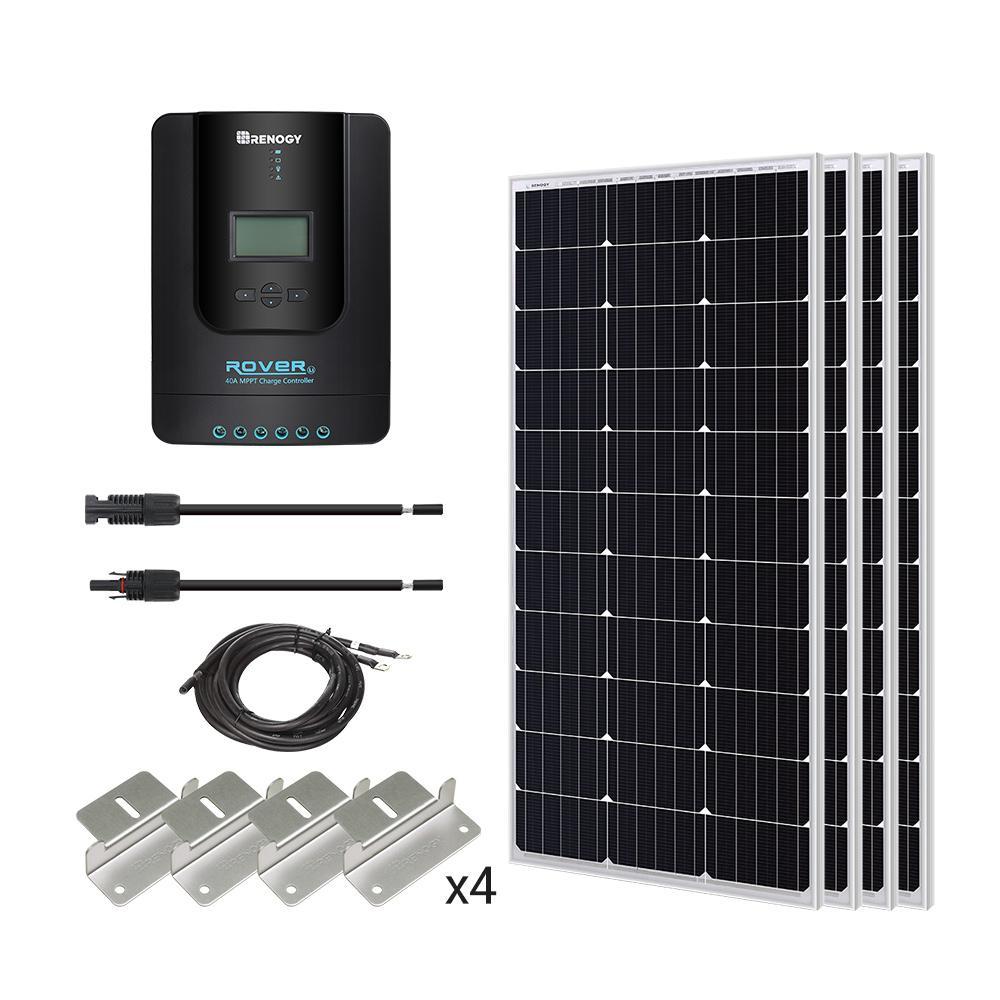 400-Watt 12-Volt Monocrystalline Solar Starter Kit with MPPT Charge Controller