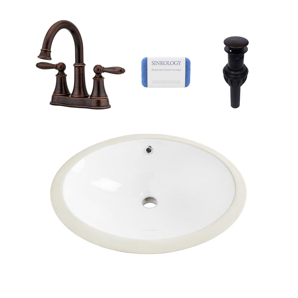 SINKOLOGY Louis All-in-One Undermount 19 in. Bathroom Sink in White and Pfister Courant Bronze Faucet