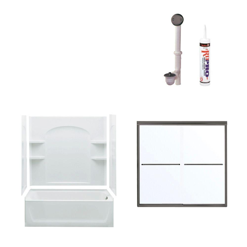 STERLING Ensemble Bathtub Kit with Right-Hand Drain in White with Oil Rubbed Bronze Trim-DISCONTINUED
